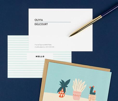 Carte de correspondance personnalisée et étiquette cadeau - Atelier Rosemood
